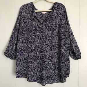 Pleione purple blue and grey dot floral blouse